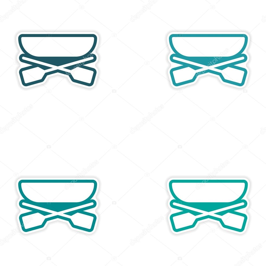 Set of stickers boat and oars on white background