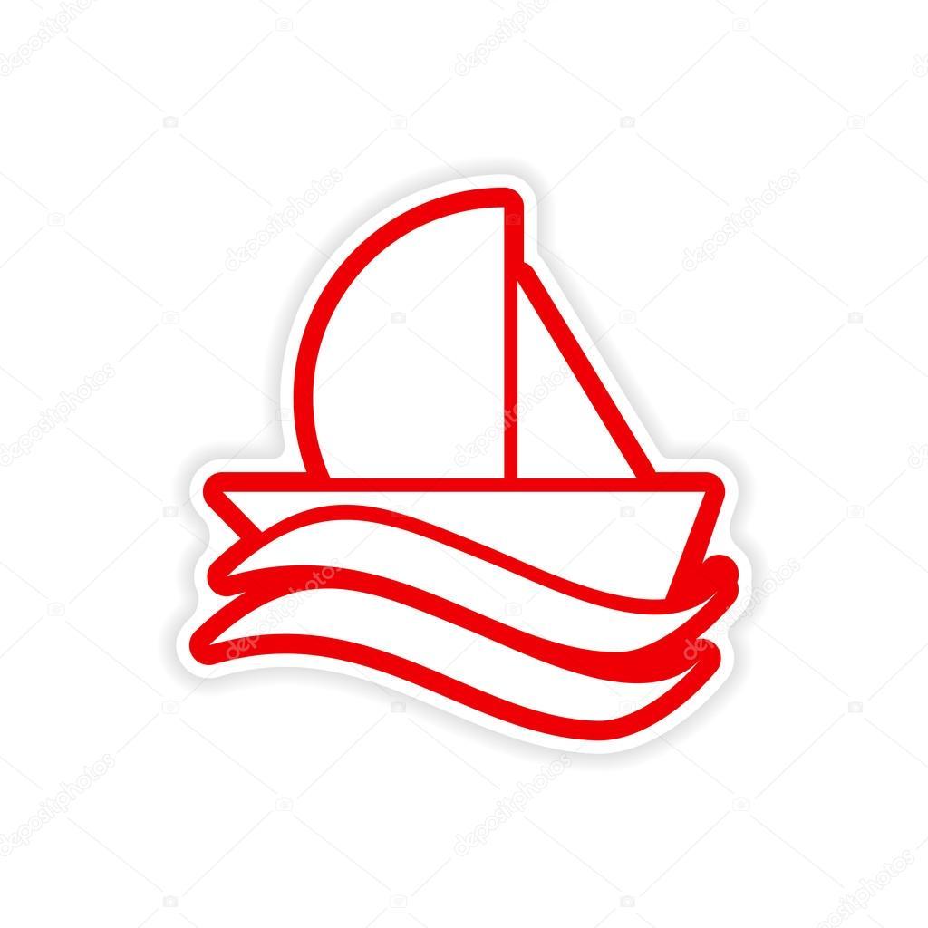 paper sticker sailing ship on white background