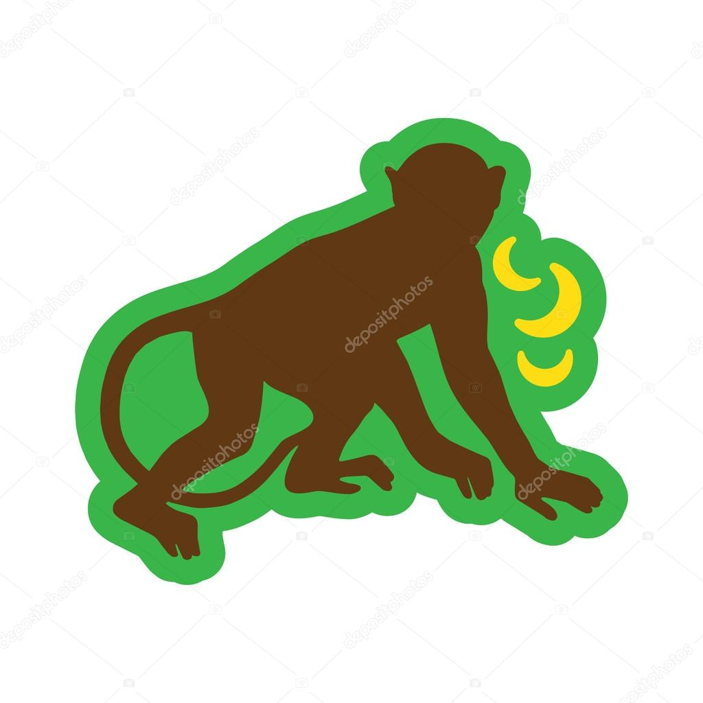 flat icon with long shadow monkey with bananas