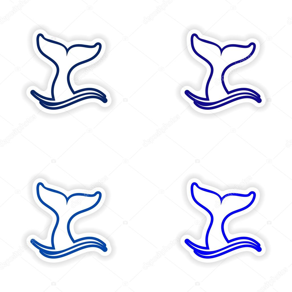 Set paper stickers on white background whale tail