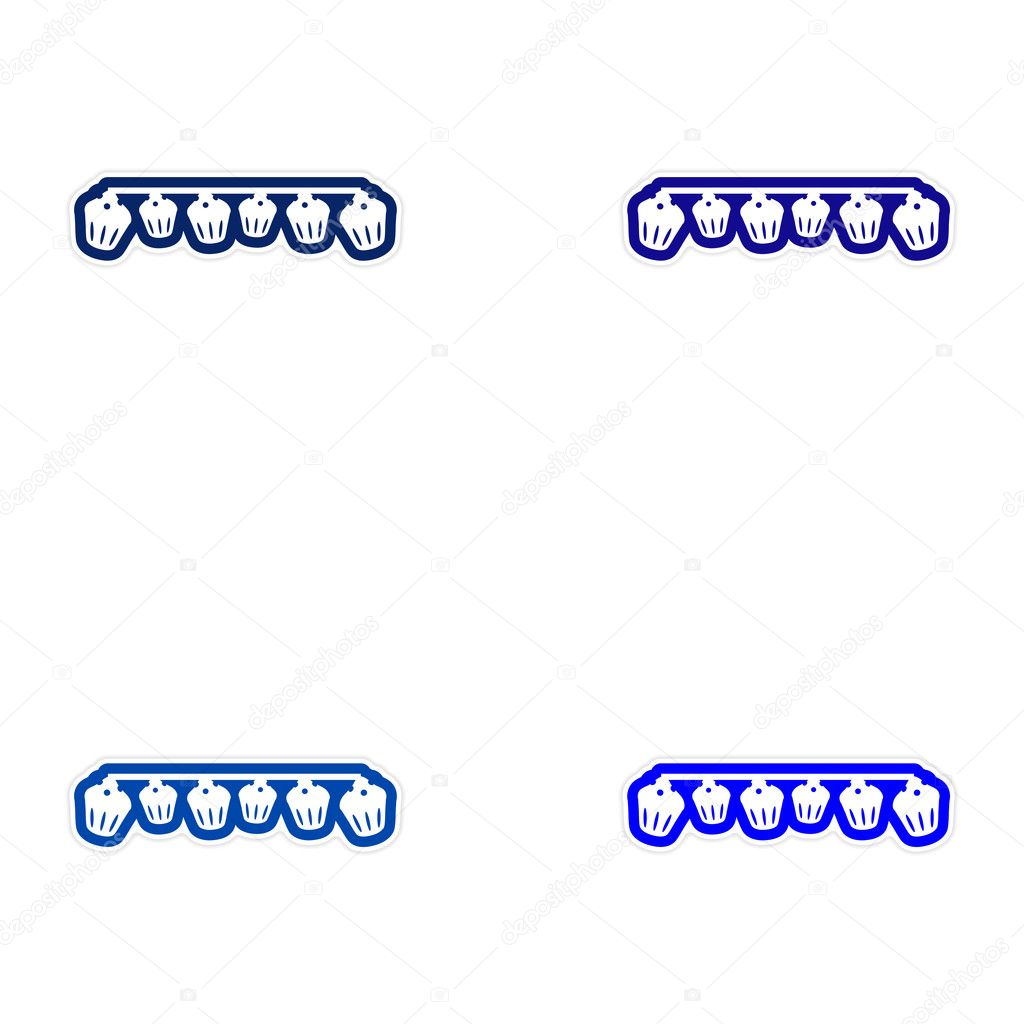 Set of paper stickers on white background garland cupcakes