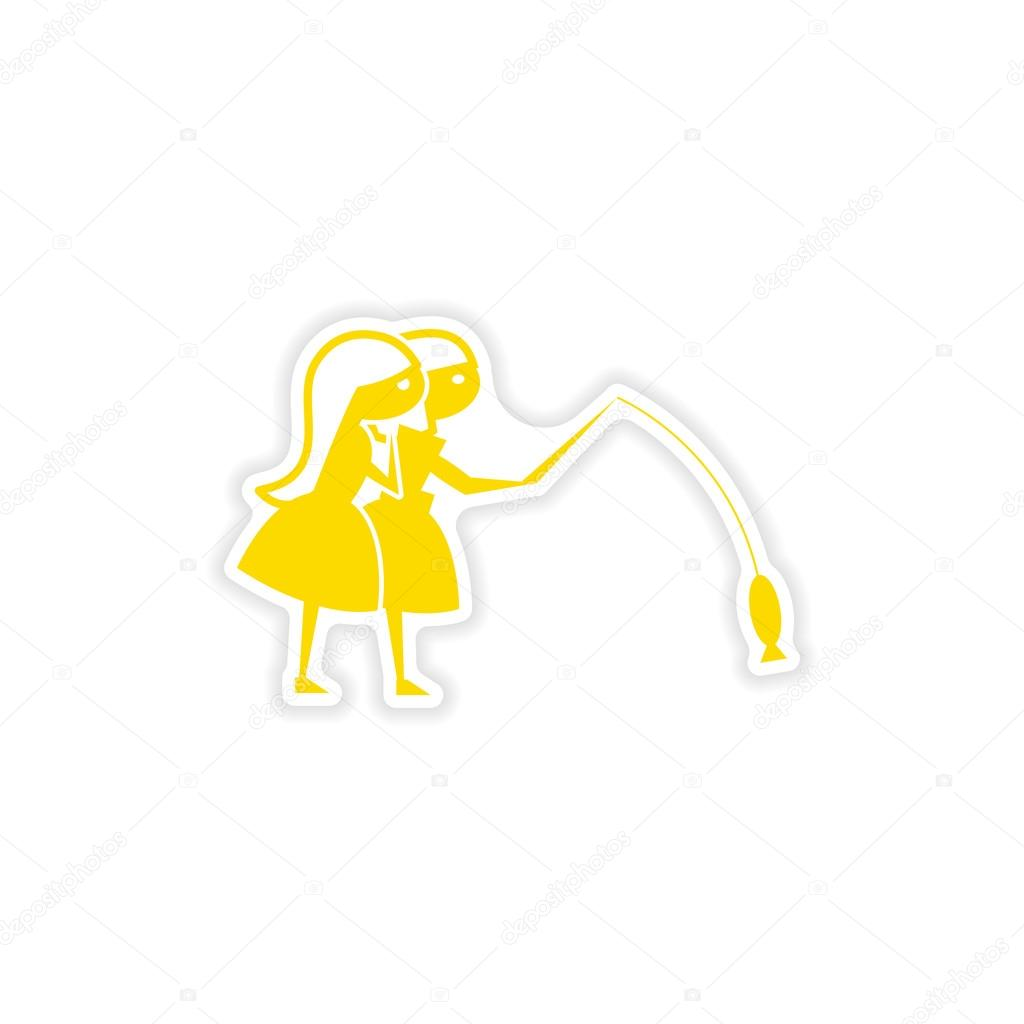icon sticker realistic design on paper friend fishing
