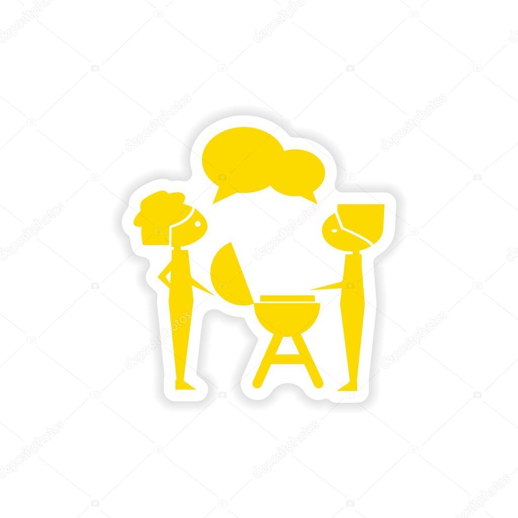 Icon sticker realistic design on paper barbecue party