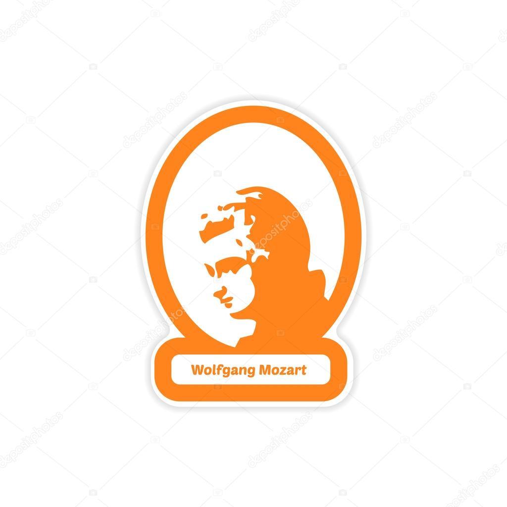 ヴォルフガング アマデウス モーツァルトの白い背景紙ステッカー