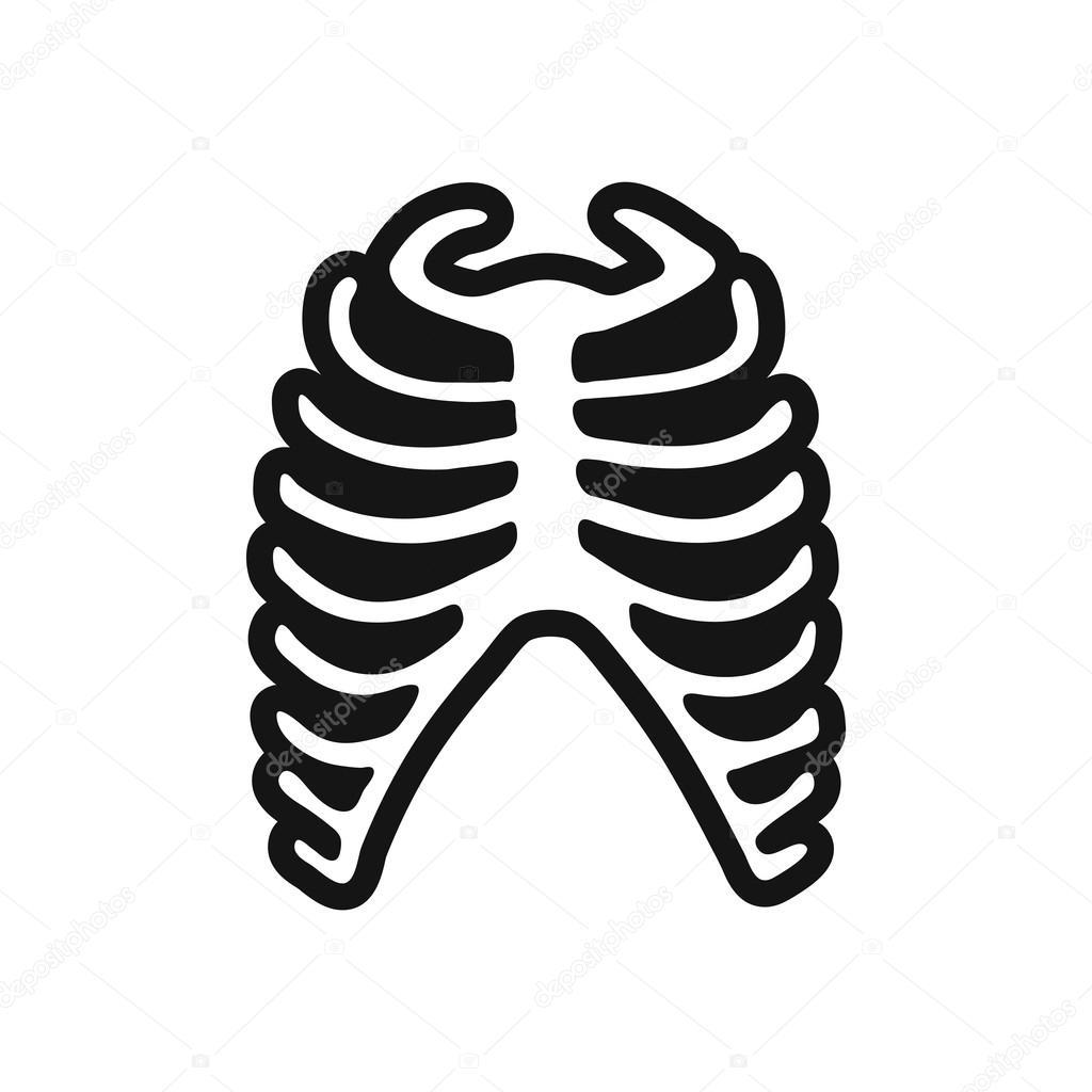 costilla humana icono blanco y negro con estilo — Archivo Imágenes ...