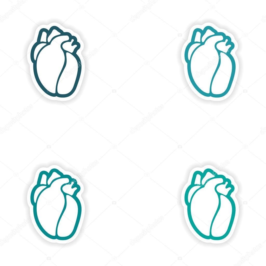 Conjunto de etiquetas de papel en corazón humano fondo blanco ...