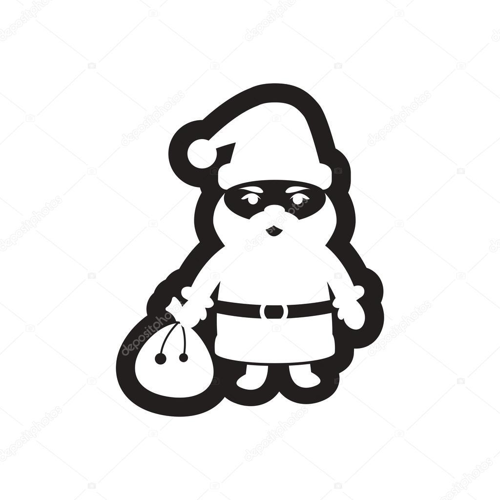 Icône Plate En Noir Et Blanc De Père Noël Image