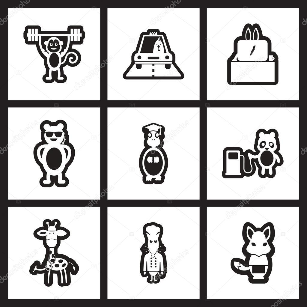 set of black and white icons profession animals