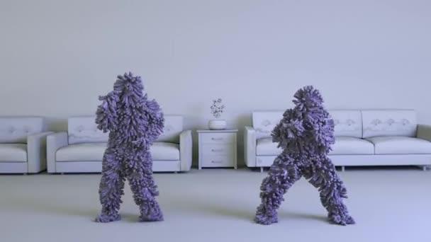 Pár 3D kreslených postav Chlupatá bestie Tančící v obývacím pokoji s pohovkami v pozadí, modré vlasy. Video - 3D vykreslování