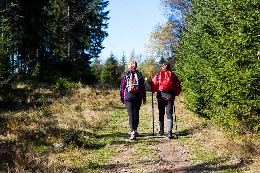 couple of hiking tourists