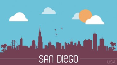 San Diego skyline silhouette vector illustration