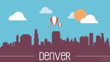 Denver skyline silhouette vector illustration