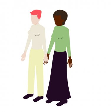 Isometric international lesbian couple