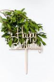Inscription happy birthday greeting. Cake decoration