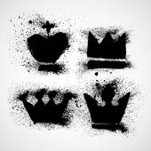 Grunge Royal crowns set with splashes