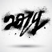 Fotografie 2014 Neujahr Nachricht Farbe Pinsel Gestaltung