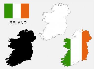 Ireland map and flag vector, Ireland map, Ireland flag