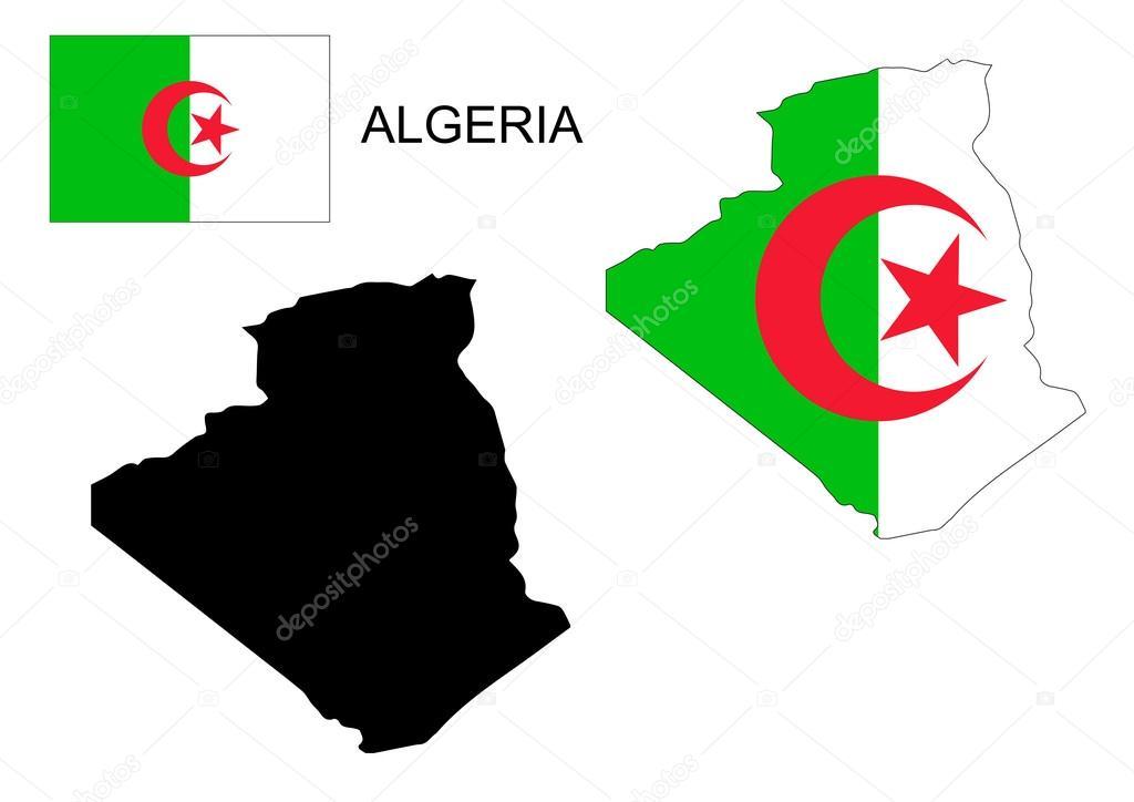 Carte Algeria Vector.Algeria Map And Flag Vector Algeria Map Algeria Flag