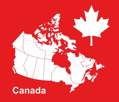 Canada map in red background, canada map vector, map vector, maple leaf