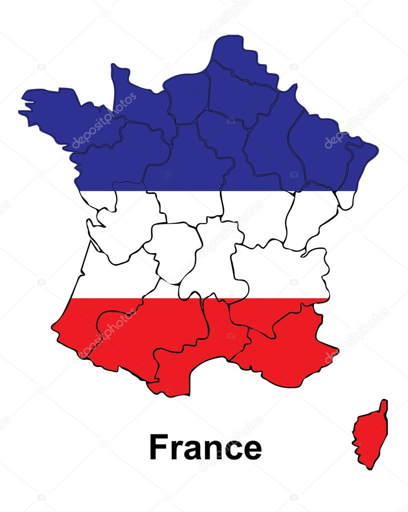France Map Flag.France Map With Flag Inside France Map Vector Map Vector Stock