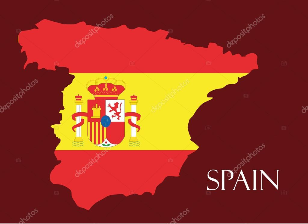 Spain Map Flag.Spain Map With Flag Inside Spain Map Vector Map Vector Stock