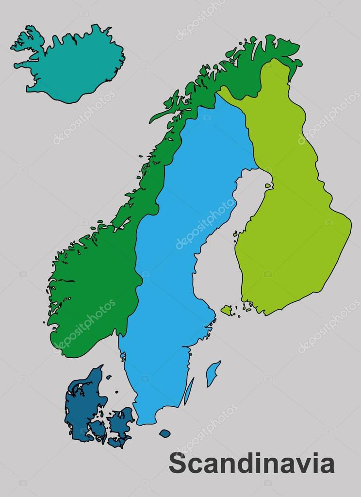 Scandinavia Colorful Map Scandinavia Map Vector Map Vector - Map of scandinavia