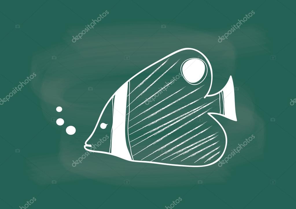 Poisson vecteur de poissons dessin la craie de tableau noir image vectorielle cssanddesign - Dessin a la craie ...