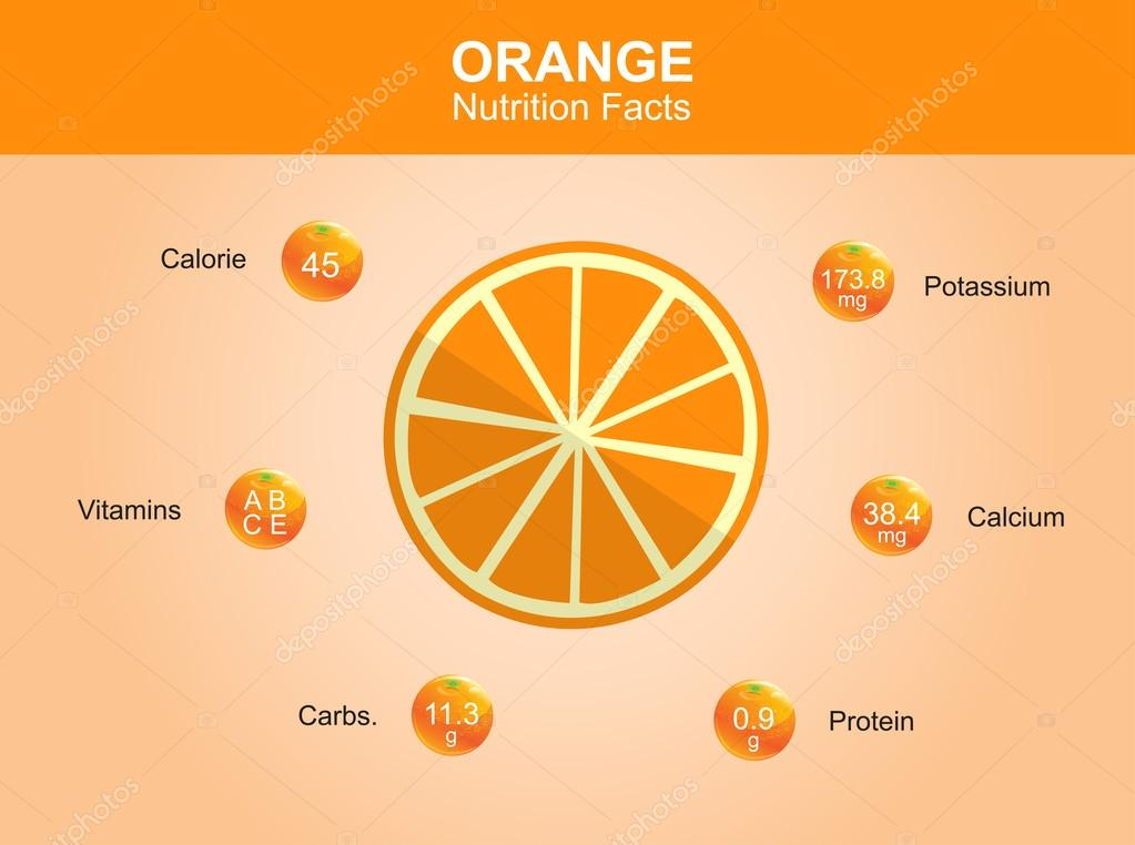 orange nutrition facts, orange fruit with information, orange vector