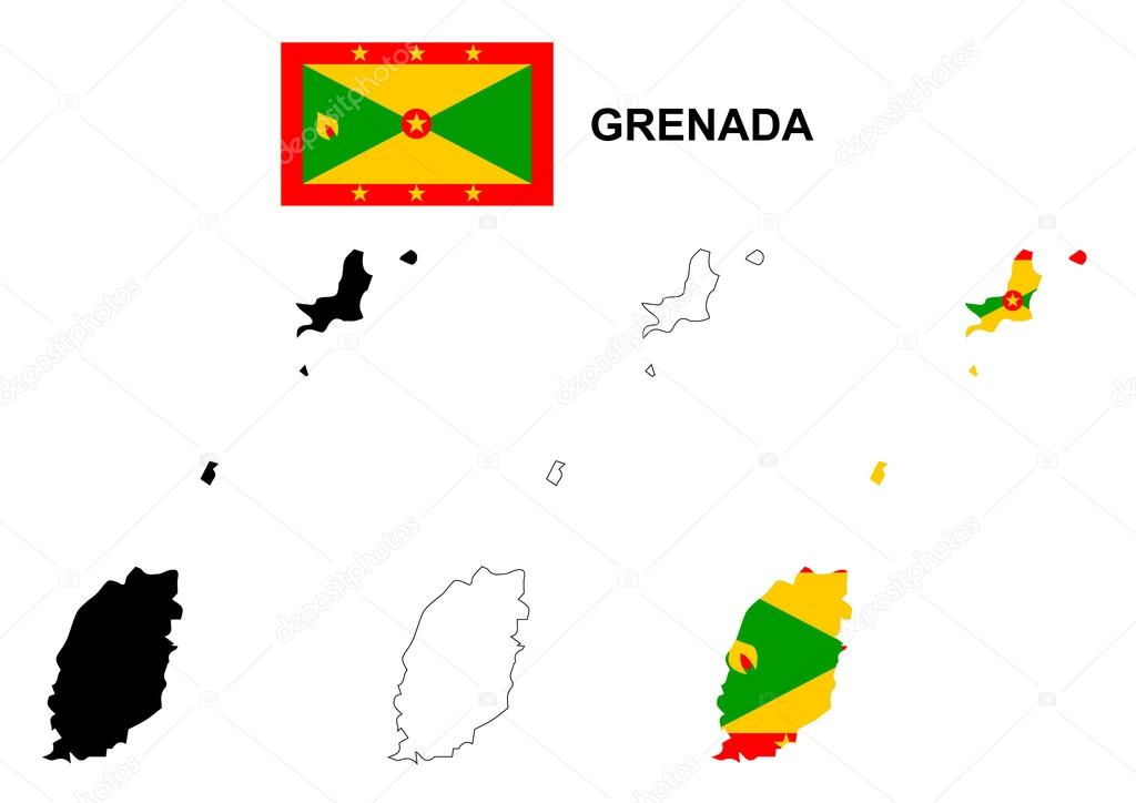 Grenada Map Vector Grenada Flag Vector Isolated Grenada Stock - Grenada map download