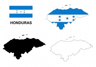 Honduras map vector, Honduras flag vector, isolated Honduras
