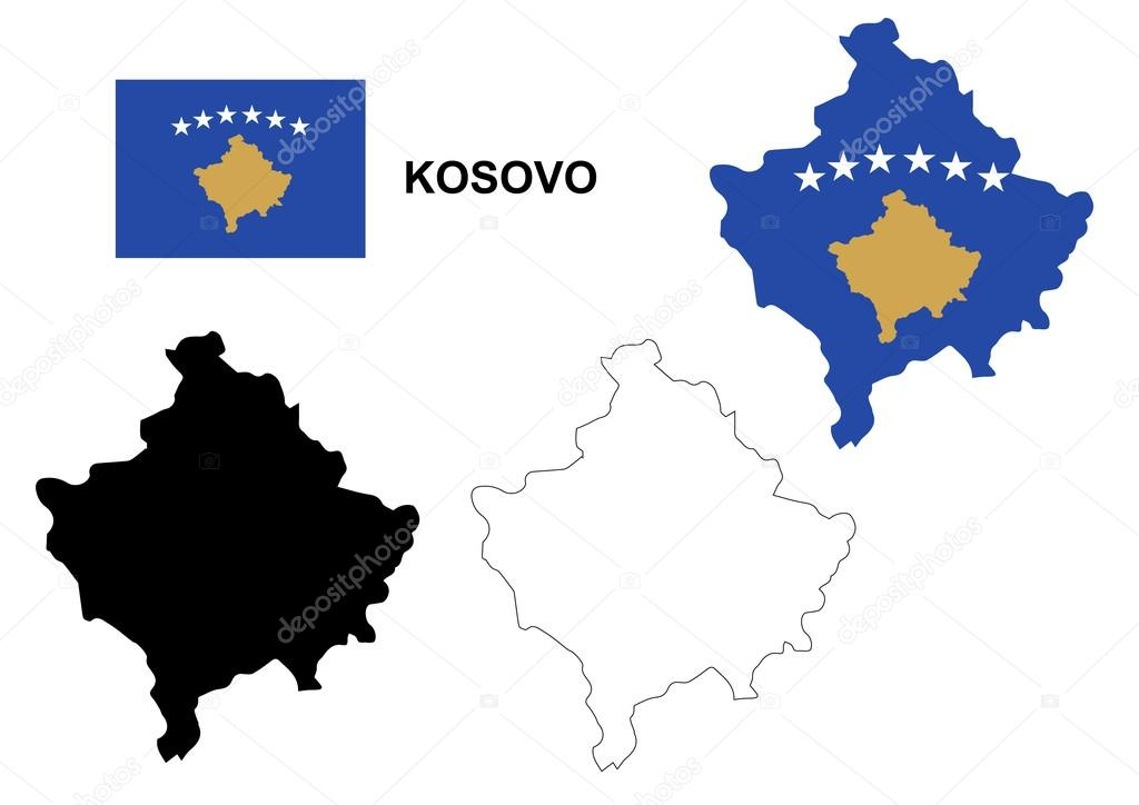 Kosovo map vector Kosovo flag vector isolated Kosovo Stock