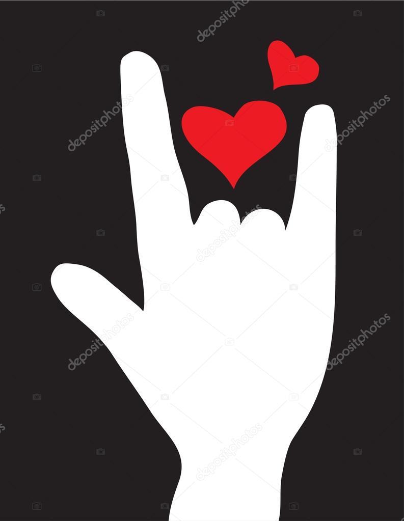 signe de l 39 amour de main symbole de l 39 amour illustration vectorielle image vectorielle. Black Bedroom Furniture Sets. Home Design Ideas