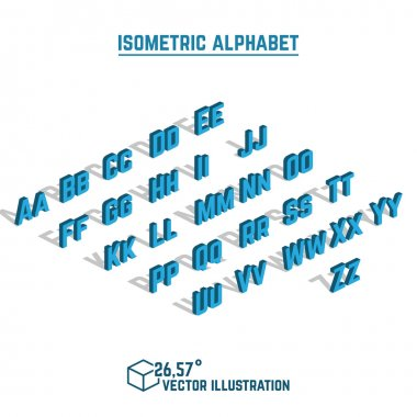 Isometric alphabet and font, small and large letters design element.