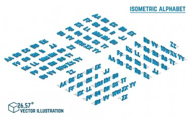 Isometric alphabet and font