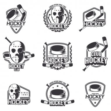 Set of sports logos for hockey.