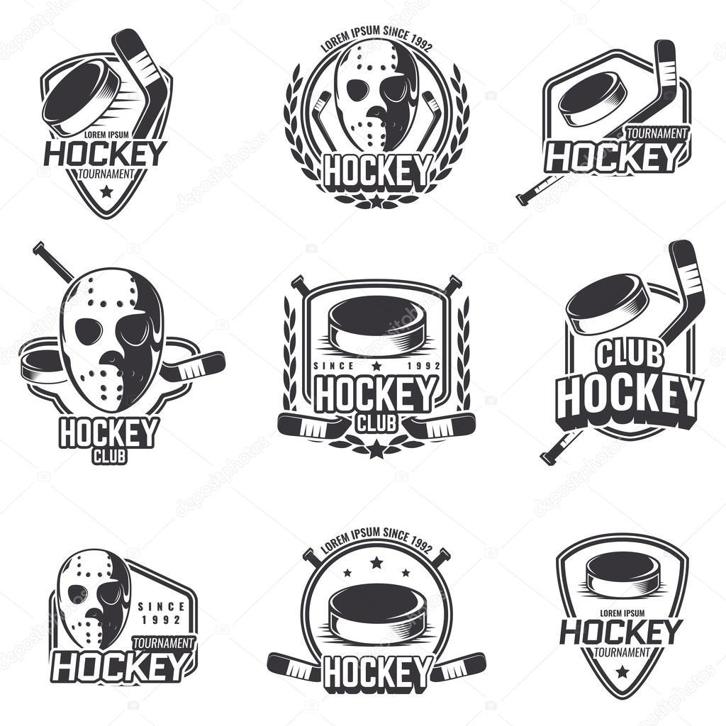 Conjunto de logotipos deportivos para hockey — Vector de stock ...