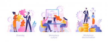Workplace culture concept. Workplace and racial discrimination, equal employment opportunity, shared values, sexual harassment, prejudice and bias metaphor. Set of flat cartoon vector illustrations icon