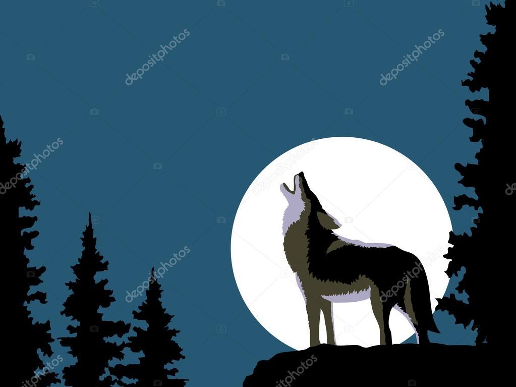 Lobo Aullando A La Luna Archivo Imágenes Vectoriales Irklig