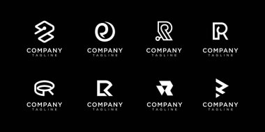 Set of creative monogram letter R logo design template. the logo can be used for building company. Premium Vector icon