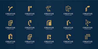 Mega bundle of creative letter r gold design template. icons for business.technology,letter r,alphabet,elegant, balance. Premium Vector icon