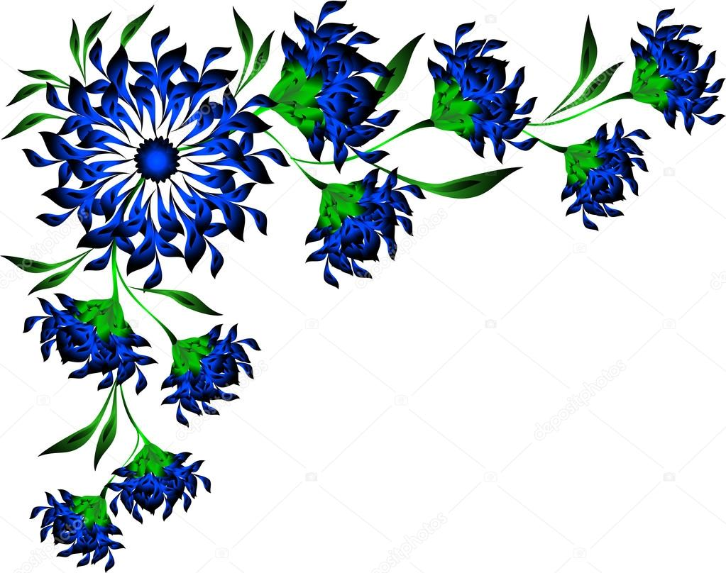 Border Of Blue Flowers And Leaves. EPS10 Vector