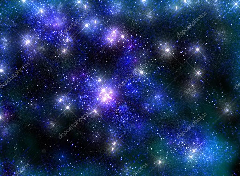Frosty starry sky with shining stars in the luminous blue haze