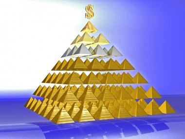 Alluring deceptive pyramid topped by a golden dollar