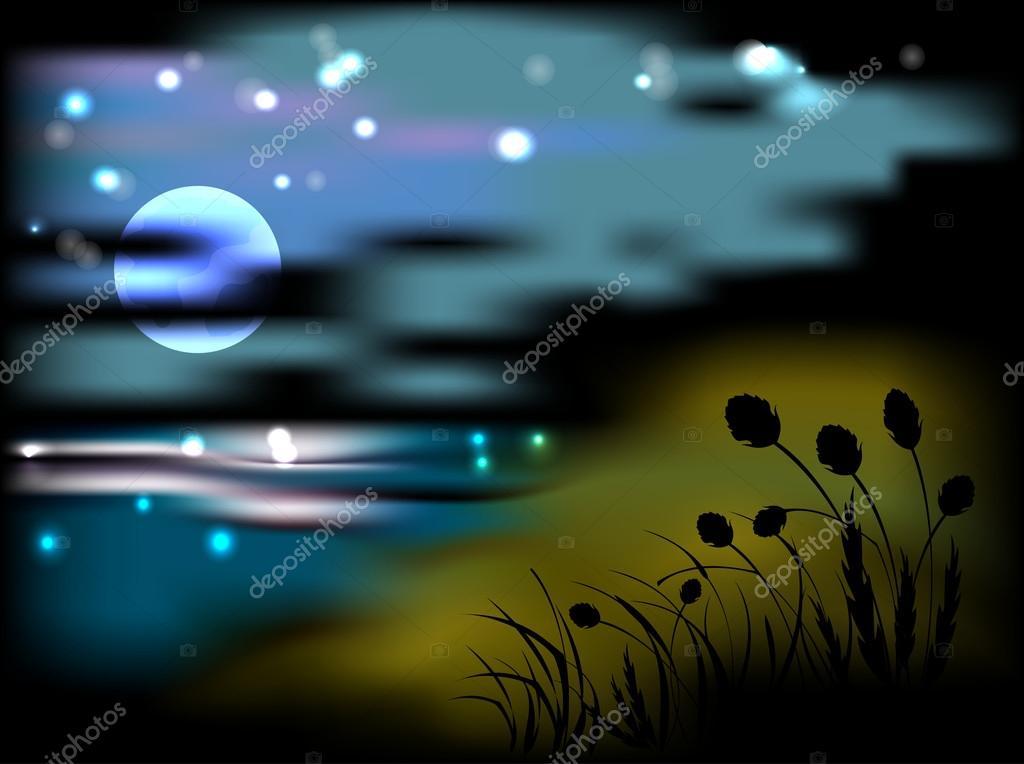 Paisaje Nocturno Con Luna Y Estrellas Archivo Imágenes Vectoriales