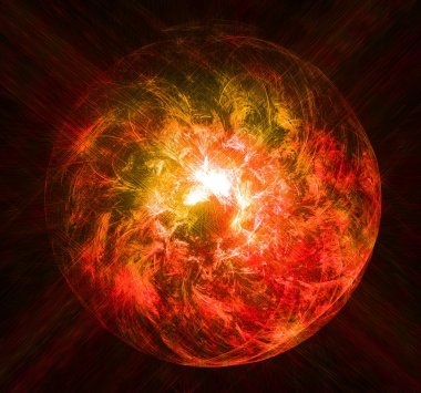 Magical red glowing ball of light with the rays of the stars