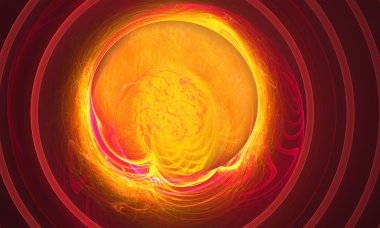 Another supernova near foreground as the storming of the red ball of fire abstraction based on fractal graphics