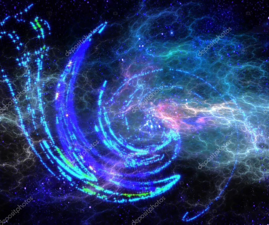 半透明の星間ガスと抽象的なスパ...