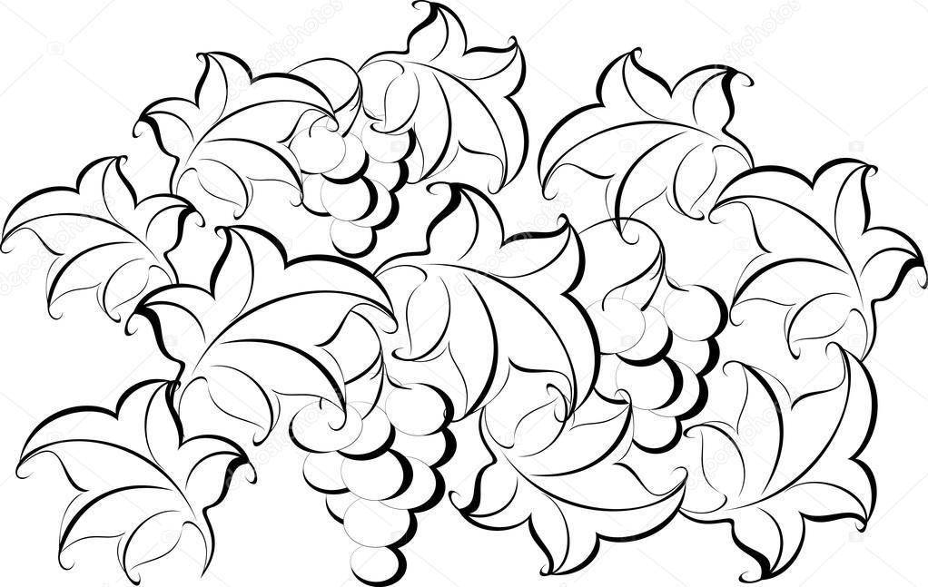 Schwarz-weiß-Muster von der Rebe. Eps10 Vektor-illustration ...