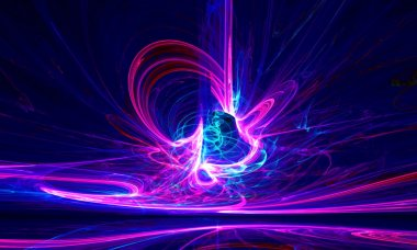 Mysterious alien form ultraviolet magnetic fields in the dark night sky. Fractal art graphics