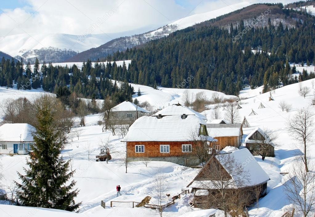 winter landscape in the mountains village